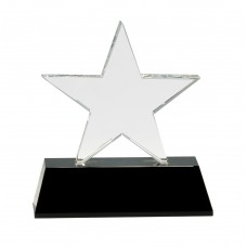 6 3/4 inch Clear Crystal Star on Black Pedestal Base